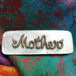 Vintage Mother brooch sea shell gold tone mom mama